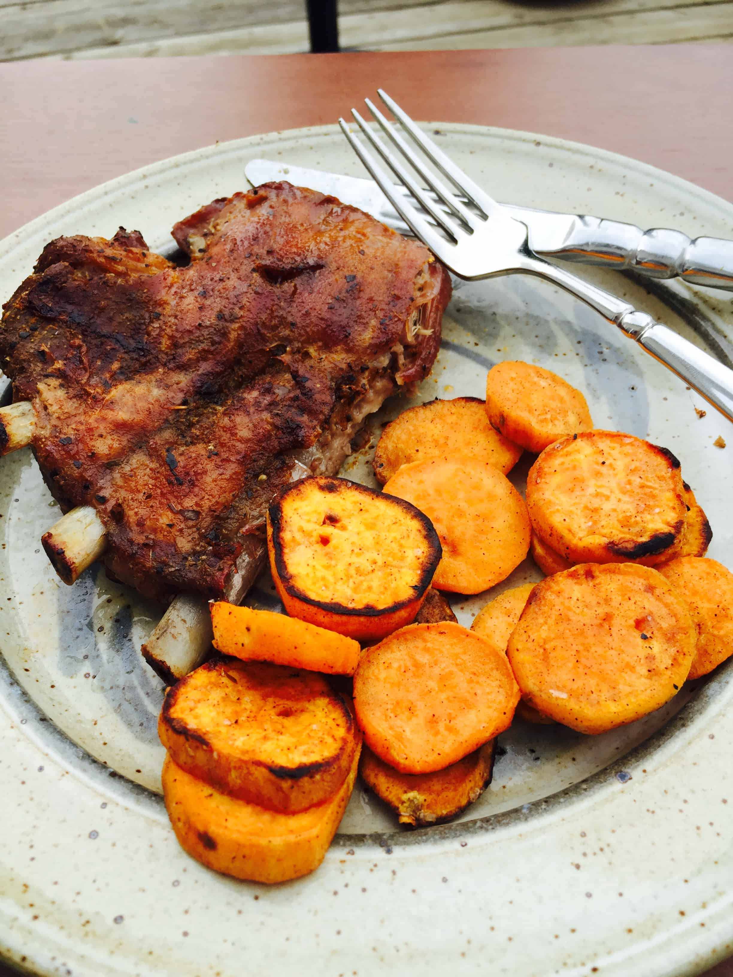 Grilled Sweet Potato Medallions, shown with Spectacular Grilled Dry-Rub Ribs.