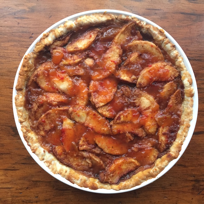 I made this Summertime Peach Tart with peach pepper jelly instead of apricot preserves, and it pops!