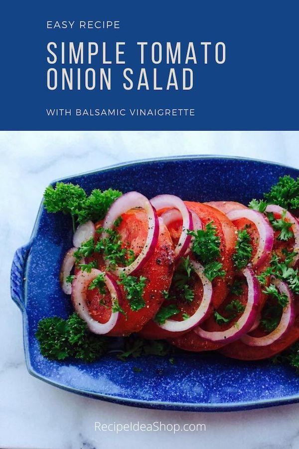 Simple Tomato Onion Salad takes 10 minutes to make, 20 minutes resting. And it's scrumptious. #tomatoonionsalad #summersalad #homegrowntomatoes #comfortfood #recipes #glutenfree #recipeideashop