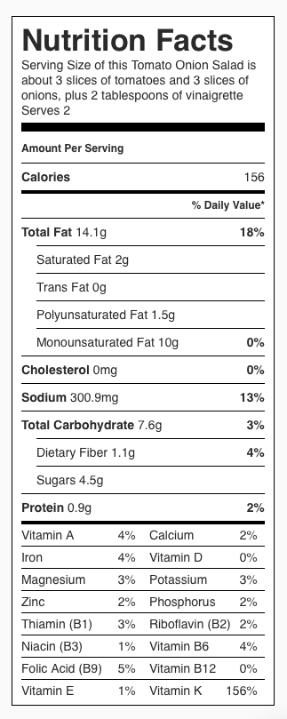 Nutrition Label for Simple Sliced Tomato Onion Salad with a Vinaigrette. Each serving is about 3 slices of tomato, 3 slices of onion and 2 tablespoons vinaigrette.