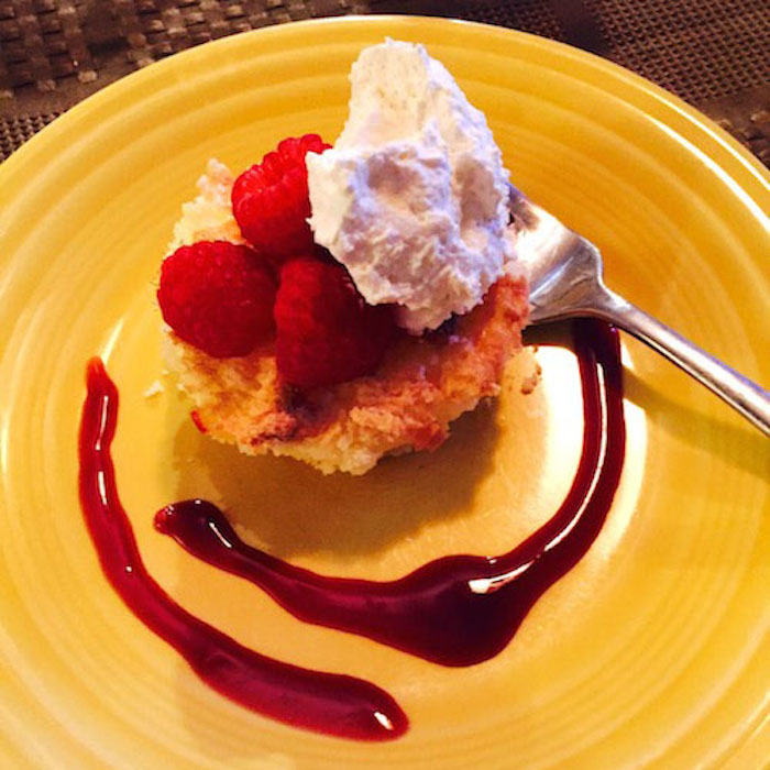 Gluten Free Lemon Cake with Strawberries & Whipped Cream is a light dessert.