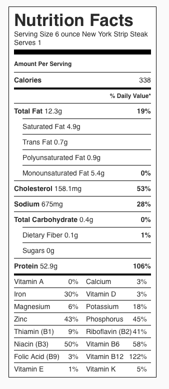 Nutrition Label for a 6-ounce beef loin New York Strip Steak.