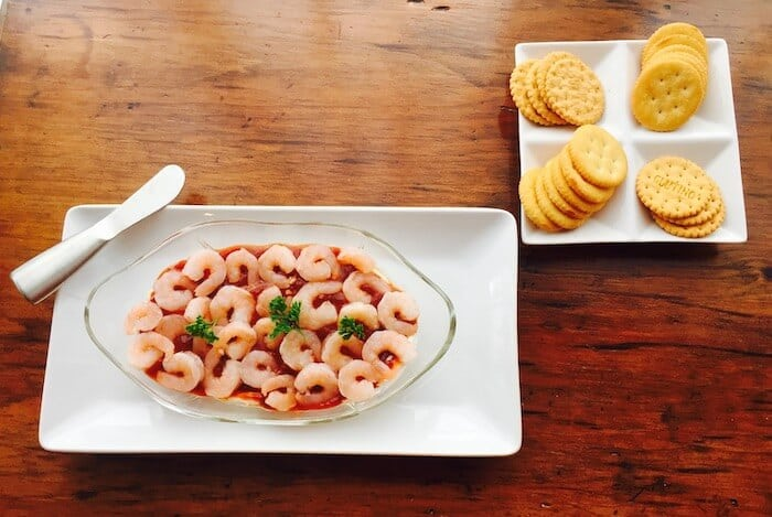 Serve Shrimp with Cream Cheese Appetizer with crackers or gluten free chips.