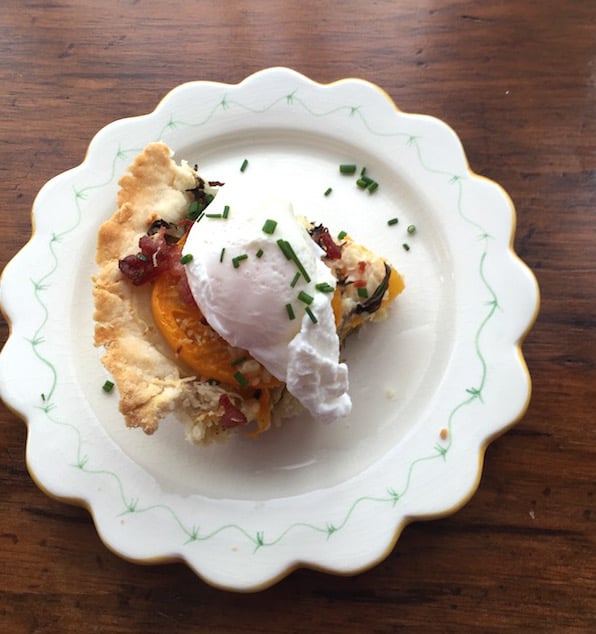 Gluten Free Tomato Basil Tart with a Poached Egg and BACON.