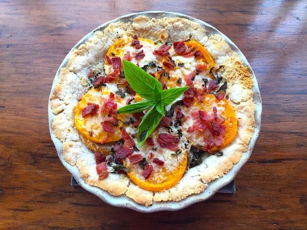 Gluten Free Tomato Basil Tart with Bacon