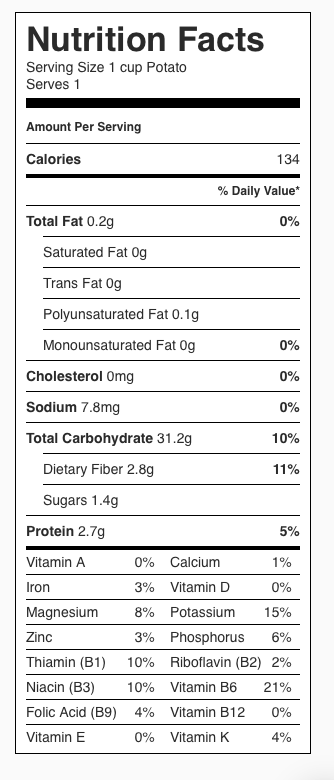 Potato (plain) Nutrition Label. Each serving is about 1 cup (nothing added).