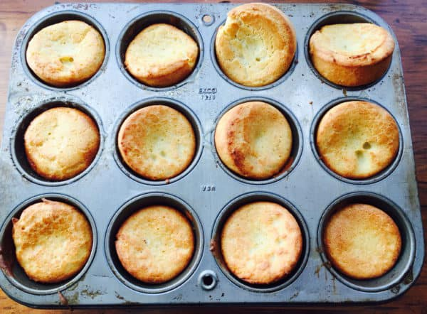 Bake the Yorkshire Puddings in a muffin or cupcake pan until they have puffed up and are nicely browned.