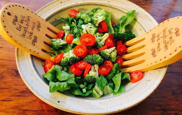A green salad is delicious topped with Basil French Dressing.