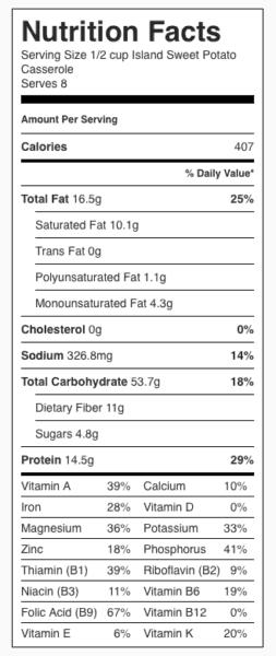 Island Sweet Potato Casserole Nutrition Label. Each serving is 1/2 cup.