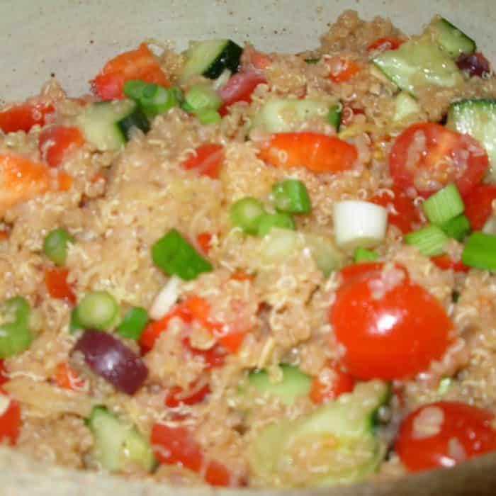 Mediterranean Quinoa Salad is terrific warm or room temperature.