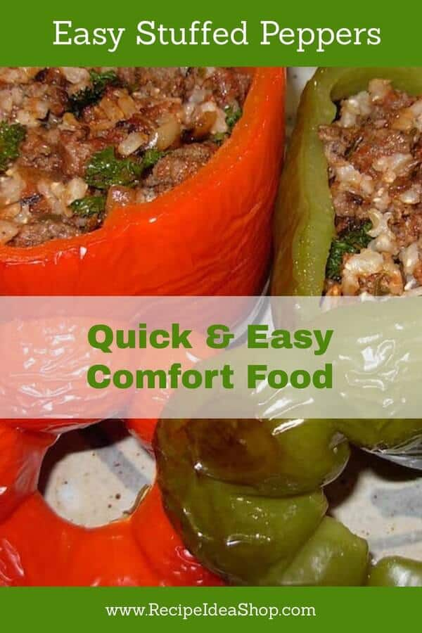 Looking for an easy comfort meal? Try these stuffed peppers. #stuffedpeppersrecipe #stuffedpeppers #bakedstuffedpeppers #comfortfood #glutenfree #recipes #recipeideashop