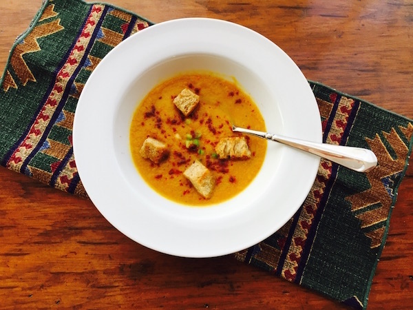Smoky Carrot Lemon Thyme Soup with Croutons