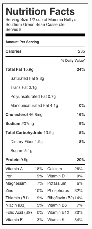 Southern Green Bean Casserole Nutrition Label. Each serving is 1/2 cup.