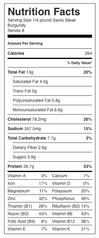 Swiss Steak Burgundy Nutrition Label. Each Serving is about 1/4 pound of meat.
