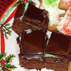 Three Layer Mint Brownies made with wheat flour.