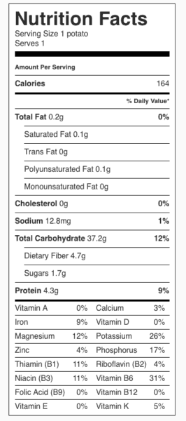 Baked Potato Nutrition Label—No Toppings