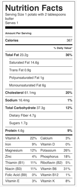 Baked Potato with Butter Nutrition Label