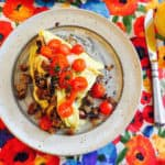 Mushroom Omelet with Tomato Garnish