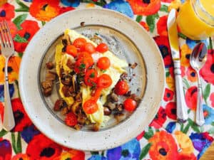 Mushroom Omelet with Tomato Garnish