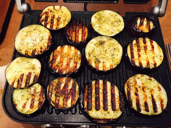 Grill the eggplant on an indoor grill, Griddler,or an outdoor grill.