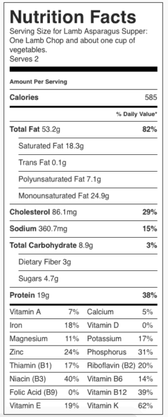 Lamb Asparagus Supper Nutrition Label. Each serving is one lamb chop and about one cup vegetables.