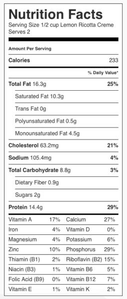 Lemon Ricotta Creme (Pudding) Nutrition Label. Each serving is 1/2 cup.