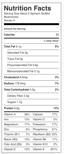 Spinach Stuffed Mushrooms Nutrition Label. Each serving is about 3 stuffed mushrooms.
