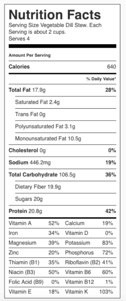 Vegetable Dill Stew Nutrition Label. Each serving is about 2 cups.