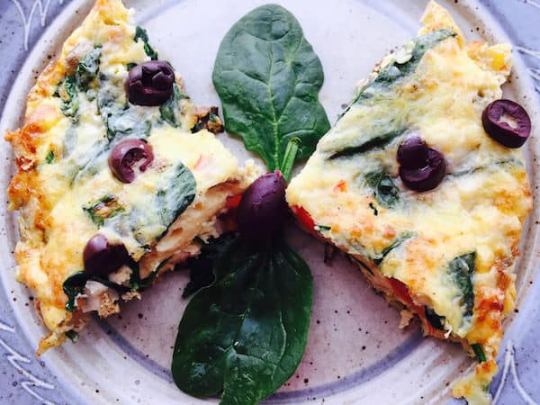 Spinach Red Pepper Frittata with Smoked Salmon and Olives Garnish