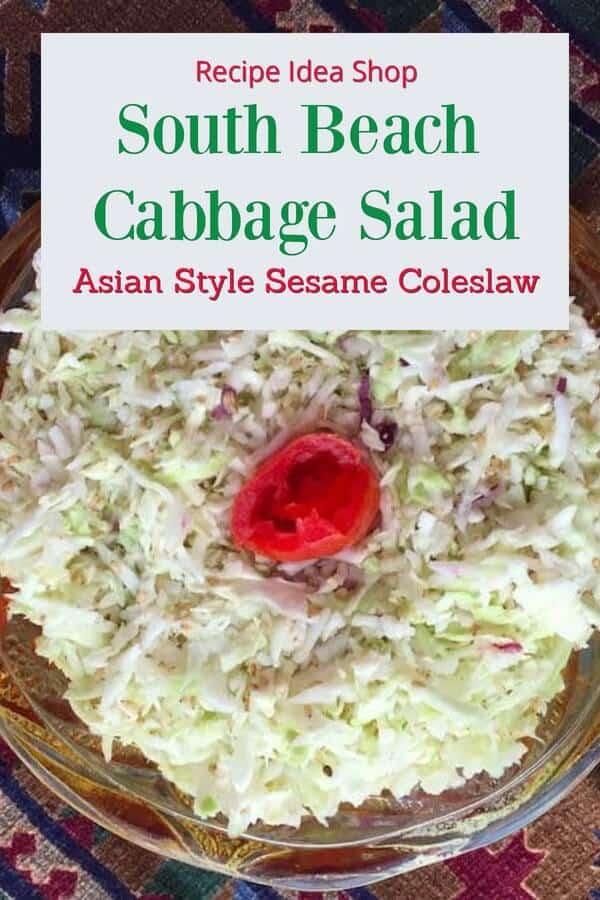 South Beach Cabbage Salad has only 5 ingredients. SO good. #southbeachccabbagesalad #southbeachrecipes #saladrecipes #glutenfree #recipes #recipeideashop