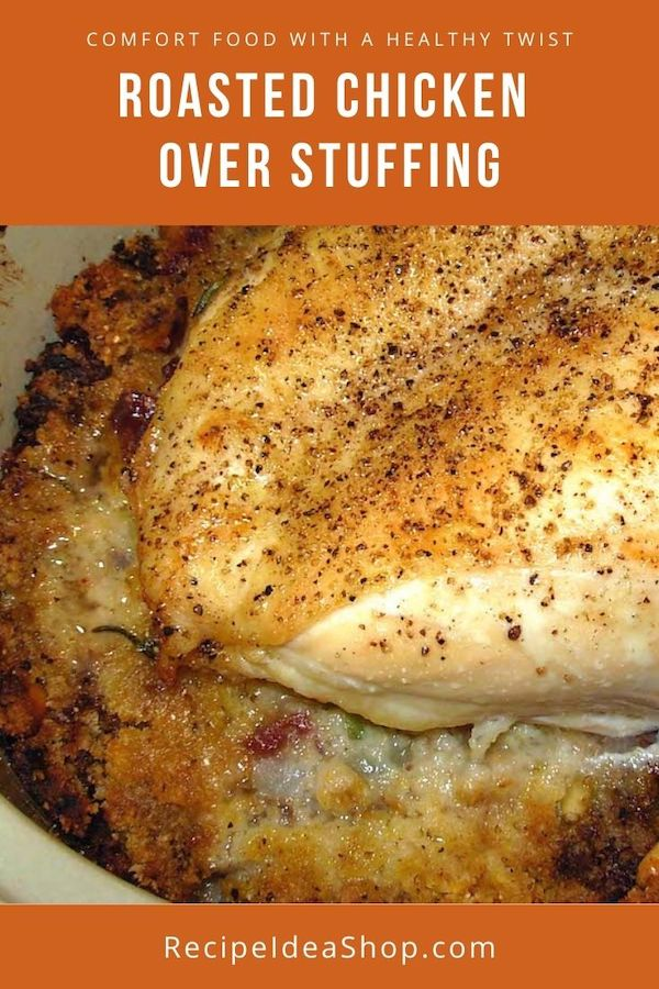 Simple Roasted Chicken Over Stuffing. 15 minutes prep. Bake for 1 hour. EAT. #roastedchickenoverstuffing #chickenrecipes #comfortfood #chicken #recipes #recipeideashop