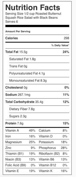 Squash Rice Salad Nutrition Label—includes black beans and pine nuts. Each serving is about 1/2 cup.