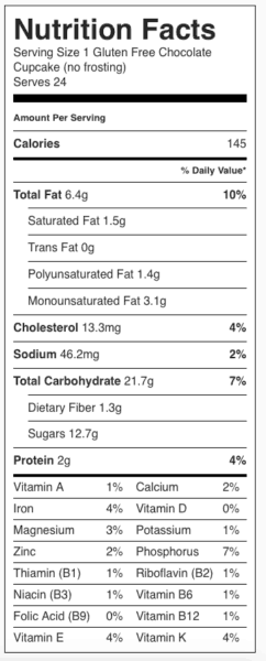 Gluten Free Chocolate Cake (Dairy Free) Nutrition Label. Each serving is one <b>unfrosted</b> cupcake.