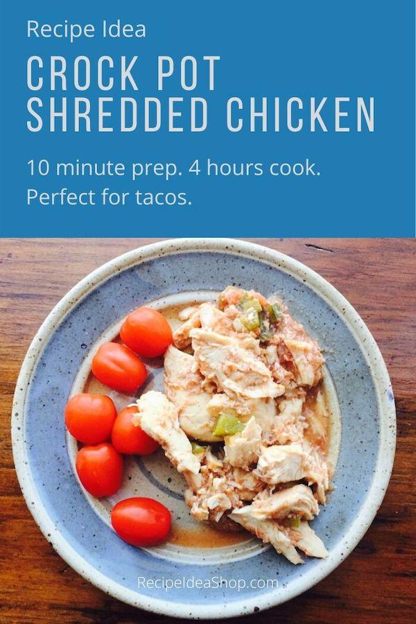Slow Cooker Shredded Chicken. Simple. SO flavorful and tender. #slowcookershreddedchicken #crockpotshreddedchicken #slowcookerrecipes #easyrecipes #glutenfree #comfortfood #food #health #recipeideashop