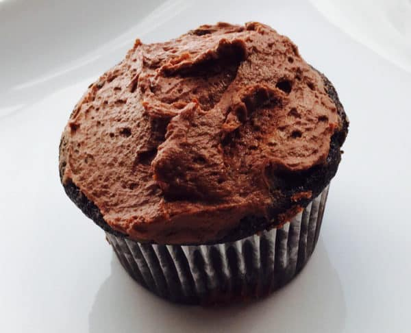 Gluten Free Chocolate Cupcake made with the recipe for Gluten Free Chocolate Cake