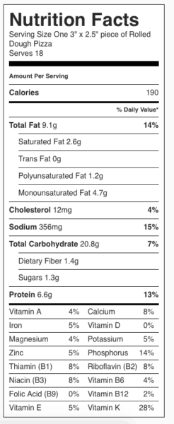 "Rolled Crust Pizza Nutrition Label. Each serving is one 3"" x 2.5"" (about) piece of pizza."