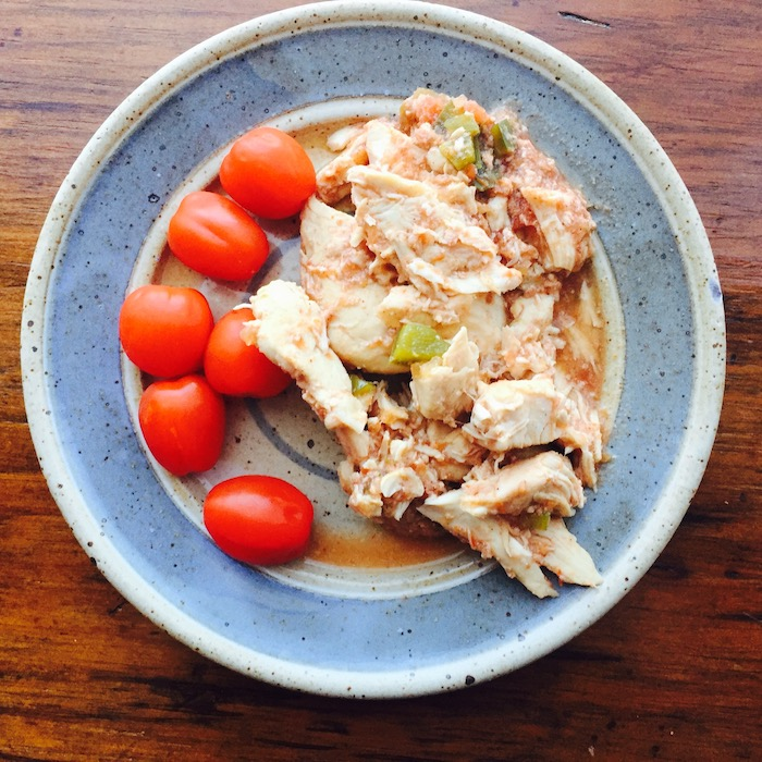 Slow cooker shredded chicken is juicy and tender. The tomato sauce and salsa add flavor.