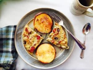 Bacon Artichoke Kalamata Frittata