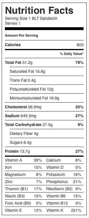 BLT Sandwich nutrition label, includes butter.