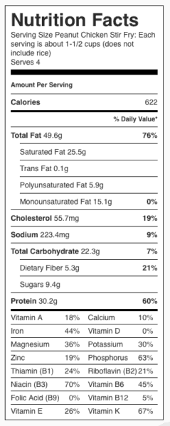 Peanut Chicken Stir Fry Nutrition Label. Each serving is about 1-1/2 cups without rice.