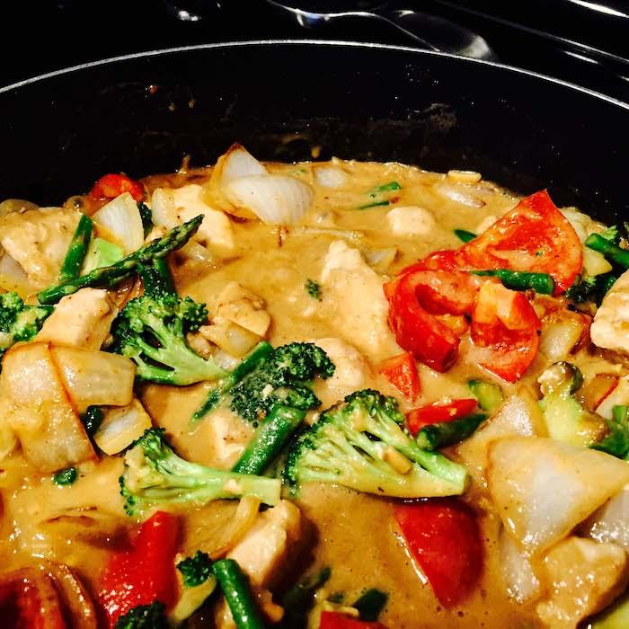 Peanut Chicken Stir Fry in the pan.
