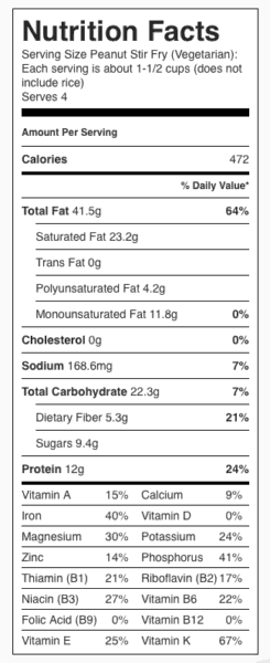 Peanut Vegetable Stir Fry Nutrition Label. Each serving is about 1-1/2 cups without rice.