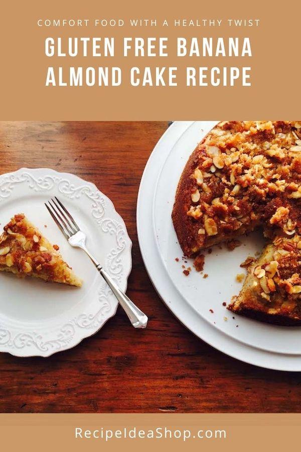 Ever eat Pineapple Upside Down Cake? This Gluten Free Banana Almond Cake is even better! And just as easy. #glutenfreebananaalmondcake #upsidedowncake #coffeecake #breakfast #glutenfree #recipes #comfortfood #recipeideashop