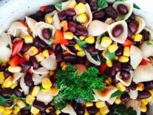 Look at this tasty Black Bean Corn Pasta Salad. It is gluten free and vegan.