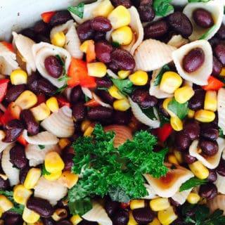 Look at this tasty Black Bean Corn Pasta Salad. It is gluten free and vegan.