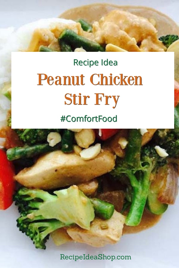 Peanut Chicken Stir Fry, 35-minutes until you eat! SO scrumptious. Vegetarian option, too. #peanutchicken #peanutsauce #stirfry #glutenfree #easyrecipes #recipes #recipeideashop