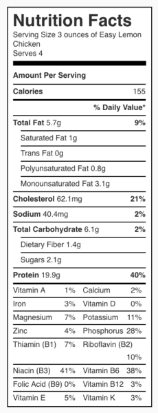 Easy Lemon Chicken Nutrition Label. Each serving is about 3 ounces.
