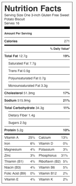 Gluten Free Sweet Potato Biscuit Nutrition Label. Each serving is one biscuit.