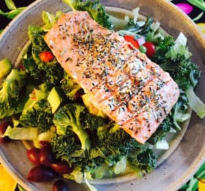 Grilled Herbed Salmon Salad makes a hearty, filling, good-for-you lunch or dinner.