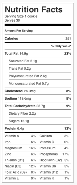 "Gluten Free Peanut Butter Chocolate Chip Cookie (no nuts) Nutrition Label. Each serving is one 3"" cookie."